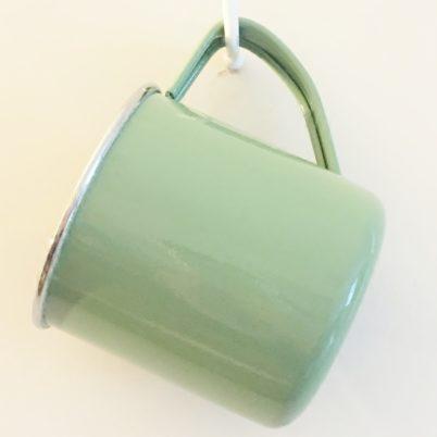 Sage Green Colour Block Handpainted Enamelware Mug Jasmine White London Hanging