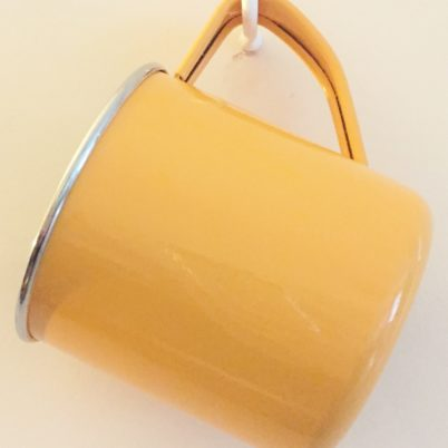 Tangerine Handpainted Colour Block Enamelware Mug Jasmine White London Hanging