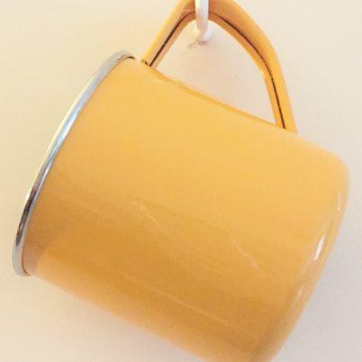 Tangerine Handpainted Colour Block Enamelware Mug Jasmine White London Hanging