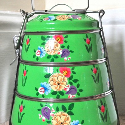 Bright Green Colour Posy Tiffin