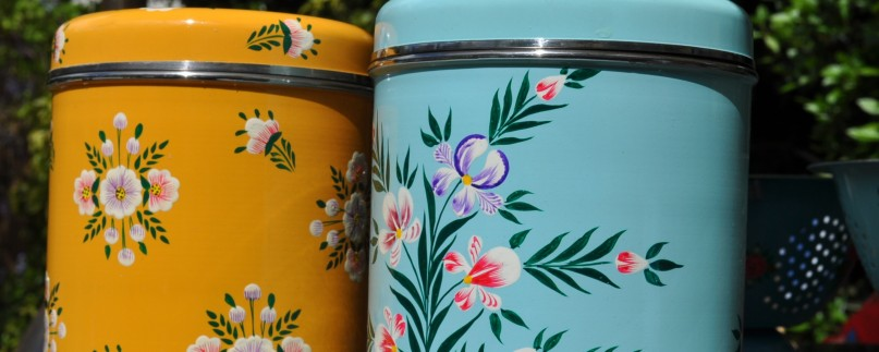 Handpainted enamelware Storage Jars in Tangerine White Posy and Duck Egg Iris designs by Jasmine White