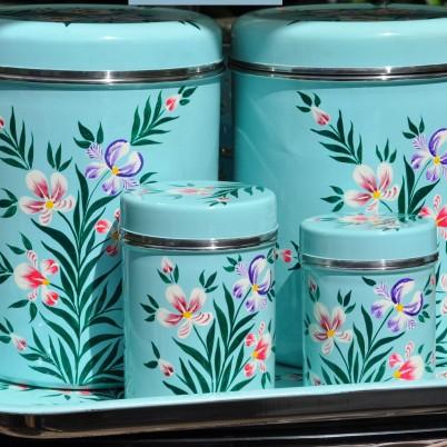 Handpainted enamelware Duck Egg Iris Storage Jar with Handpainted Large Tea Caddy and Handpainted Small Tea Caddy and Handpainted enamelware Rectangular Tray