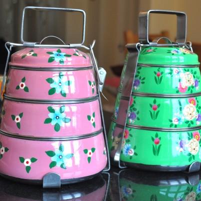 Bright Green Colour Posy tiffin