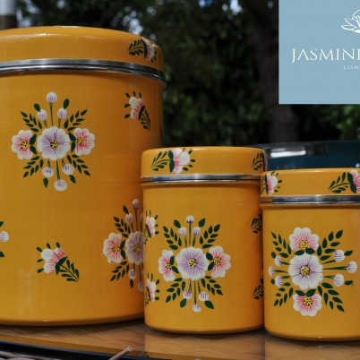 Handpainted enamelware Tangerine White Posy Storage Jar with Handpainted enamelware Tangerine White Posy Large Tea Caddy and Hand Painted enamelware Tangerine White Posy small Tea caddy