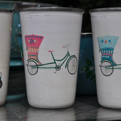 handpainted enamelware tumblers with rickshaw design