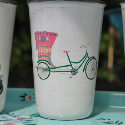 Handpainted Pink Cycle Rikshaw motif