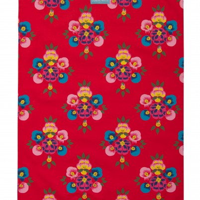 Bright Red Floral splash tea towel