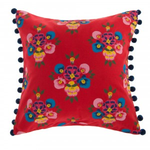 Bright Red Floral Splash Cushion