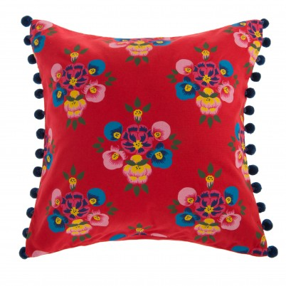 Bright Red Floral Splash Cushion