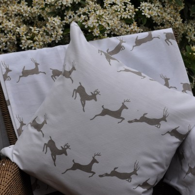 Leaping Stag Cushion and Tea Towel