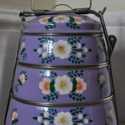Jasmine White London hand painted lilac tiffin