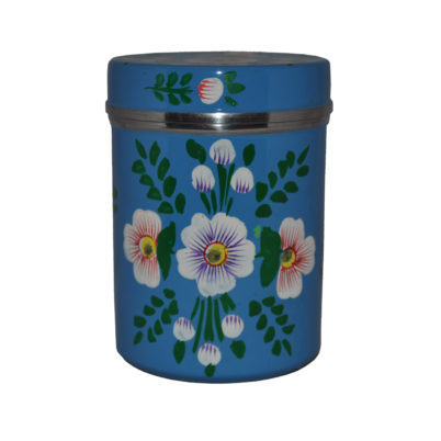 Jasmine White London Large tea caddy in Azure Blue White Posy design