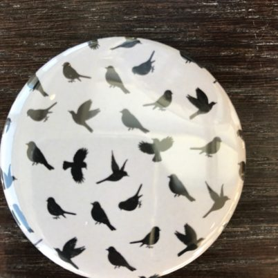 Birds of Paradise Pocket Mirror in Biscuit by Jasmine White London