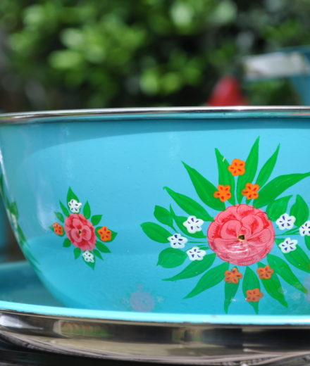 hand painted enamelware bowl