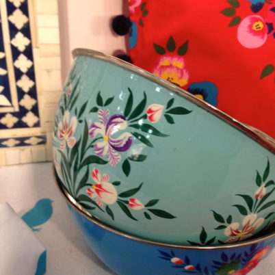 Jasmine White set of hand painted enamelware large bowls