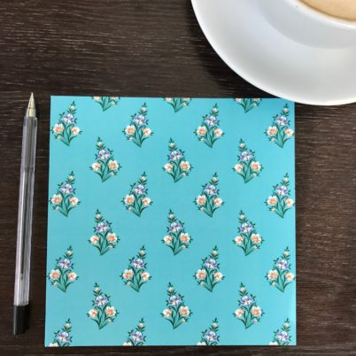 Duck Egg Iris Floral Greeting card by Jasmine White London