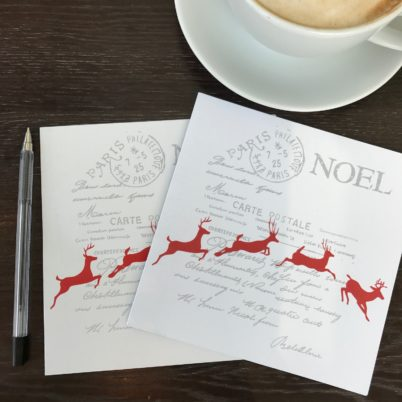 Noel Leaping Reindeer Christmas Card by Jasmine White London