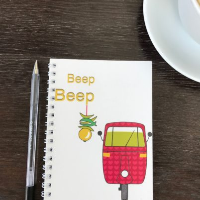 Beep Beep! Pink Tuk tuk motif notebook from Indian Street design range by Jasmine White London