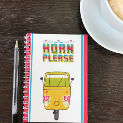 Horn Please! Tuk Tuk Motif Indian Street Notebook by Jasmine White London
