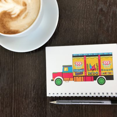 Indian Street Notebook Sideways Truck Art (Landscape view) by Jasmine White London