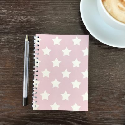 Pink Stars notebook by Jasmine White London