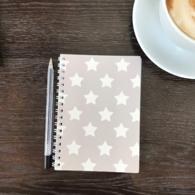 Taupe Stars Notebook by Jasmine White London