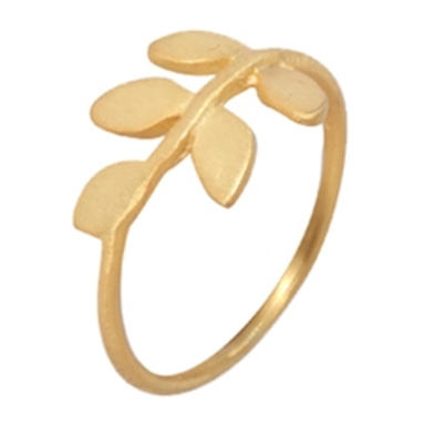 Jasmine White London Gold Vermeil leaf design ring
