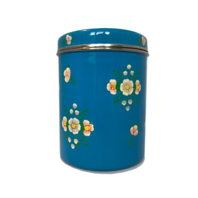 Jasmine White London Storage Jar in Azure Blue White Posy