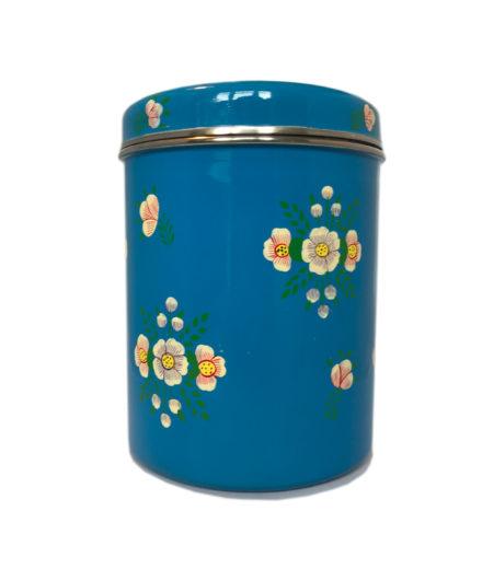 Jasmine White London Storage Jar in Azure Blue White Posy