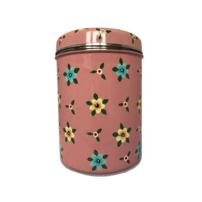 Jasmine White London Storage Jar/ Biscuit Tin in Dusty Pink Small Flower