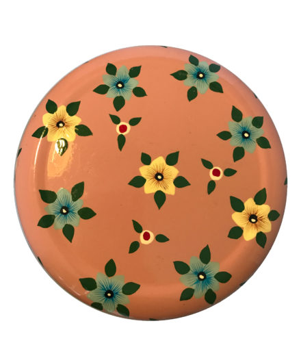 Jasmine White London Storage Jar/ Biscuit Tin in Dusty Pink Small Flower top view