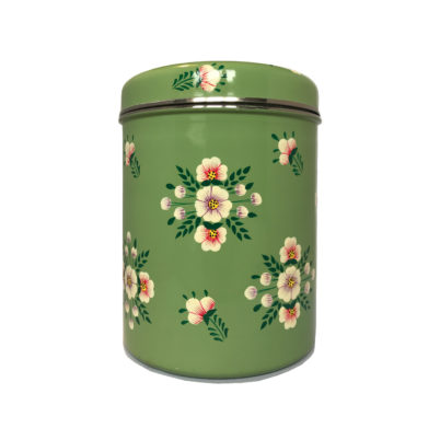 Jasmine White London Storage Jar in Sage Green White Posy