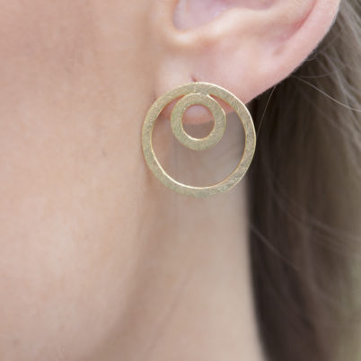 Jasmine White London Concentric rings 18 k gold vermeil earrings