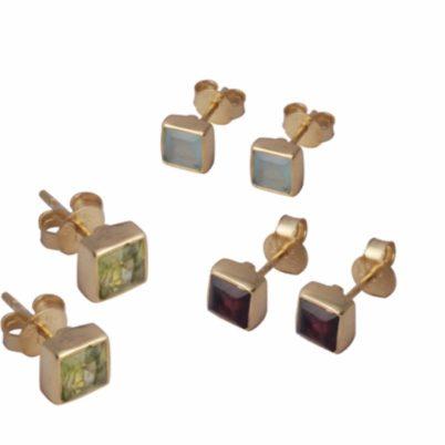 Gold Vermeil Square Ear Studs