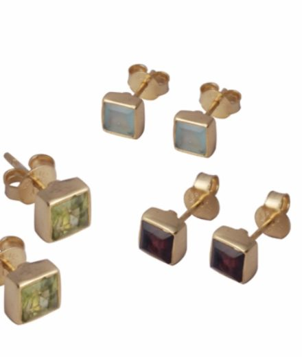 Gold Vermeil Square Ear Studs