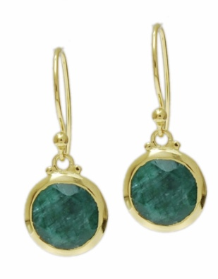 Gold Vermeil drop earring with Green amethyst by Jasmine White