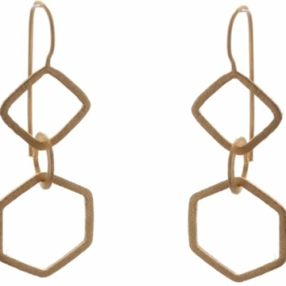 Gold Vermeil Geometric drop earrings by Jasmine White London