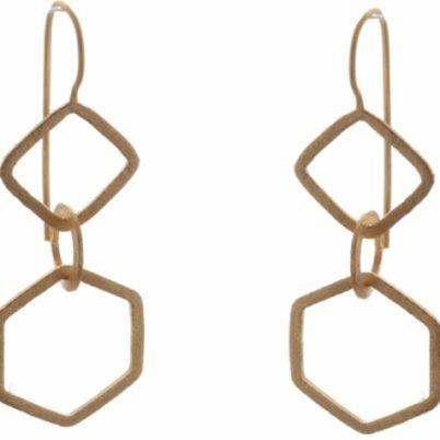Gold Vermeil Geometric drop earrings by Jasmine White London