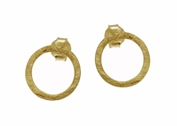 Gold Vermeil Circle Ear studs by Jasmine White