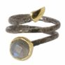 Coil ring with Rainbow Moonstone by Jasmine White London