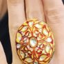 Regal cloisonné ring in red and gold with crystal embellishment from Atelier Jasmine White