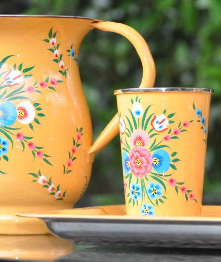 Jasmine White London Mustard Floral Splash Tumbler