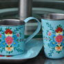 Jasmine White London Handpainted enamelware Mug, Tumbler and Tray