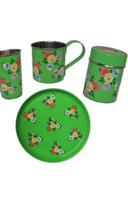 Jasmine White handprinted enamelware Mug, Tumbler, tea caddy and Tray set