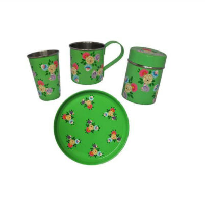 Jasmine White handprinted enamelware Mug, Tumbler, tea caddy and Tray set